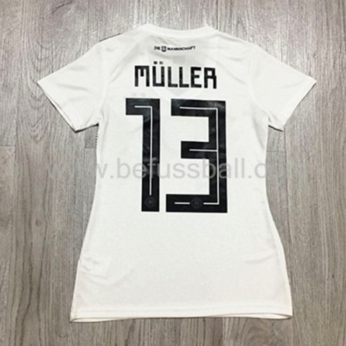 Fussball Trikots Damen Germany WM Thomas Muller 13 Heimtrikot Kurzarm 2018-19