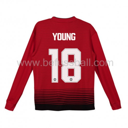 Fußballtrikots Kinder Manchester United 2018-19 Ashley Young 18 Heimtrikot Langarm