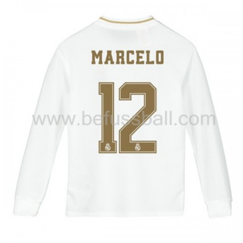 Fußballtrikots Kinder Real Madrid 2019-20 Marcelo Junior 12 Heimtrikot Langarm